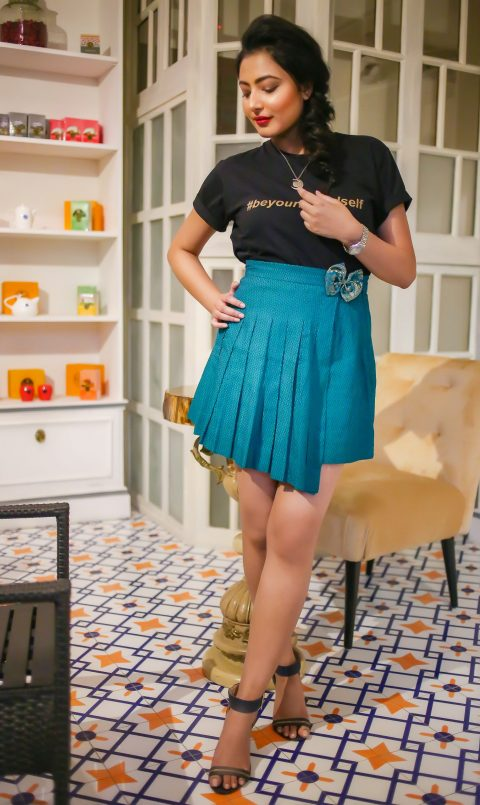 Dark Green pleated skirt