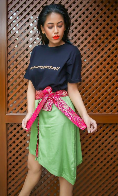 Green Asymmetric skirt with Pink broad belt