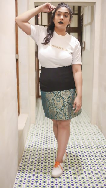 Different ways of styling our Black and Green Half and Half Brocade Skirt