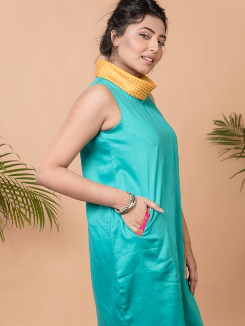Jump Around and Have Fun Anti-fit Dress in Turquoise