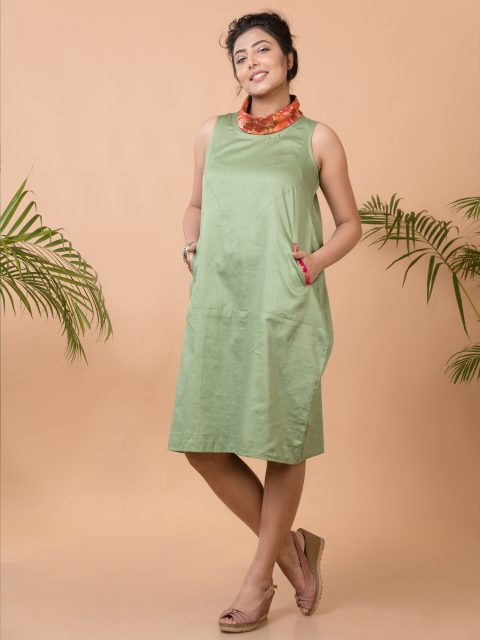 Jump Around and Have Fun Anti-fit Dress in Sage Green