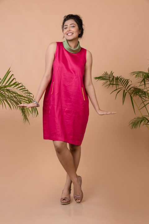Jump Around and Have Fun Anti-fit Dress in Fuchsia Pink
