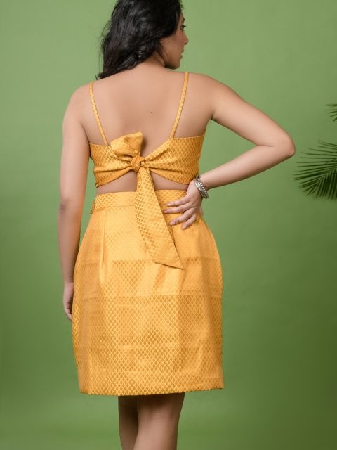 Mustard Yellow Crop Top and Mustard Yellow Tube Skirt Brocade Co-ord Set