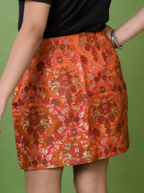 Have All Eyes On You Orange Brocade Mini Skirt