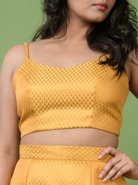 Cute and Sassy Mustard Yellow Tie-up Crop Top
