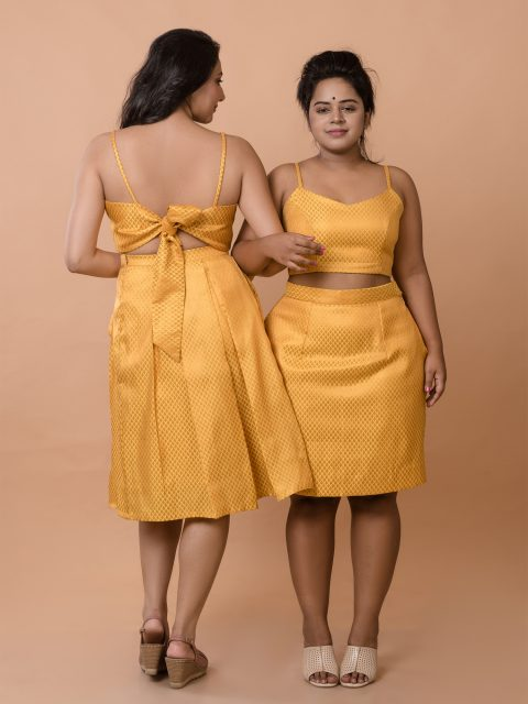 Mustard Yellow Crop Top and Pleated Midi Skirt Brocade Co-ord Set