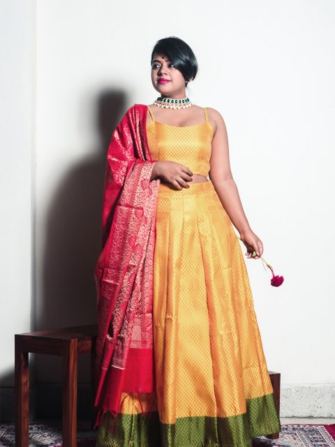 Mustard brocade crop top with our mustard brocade lehenga