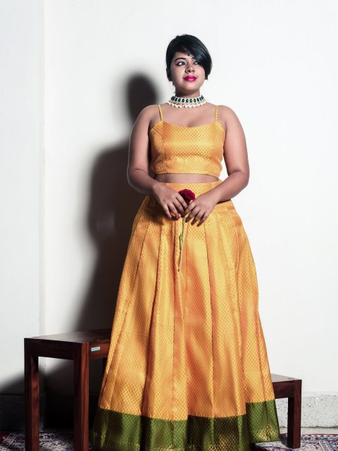 Mustard Yellow Brocade Lehenga