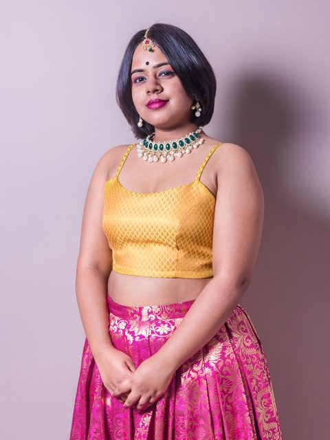 Tricolour Brocade Lehenga and Mustard Yellow Crop Top Set