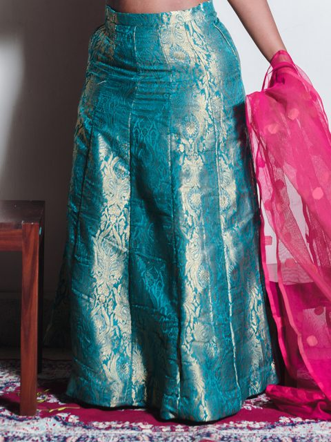 Dark Green Brocade Lehenga