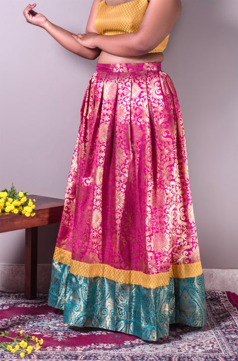 Tricolour Brocade Pleated Lehenga