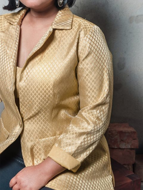 Stand Out From The Crowd Beige Brocade Blazer