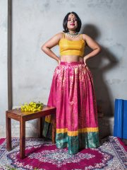 Mustard brocade crop top with our tricolour brocade lehenga