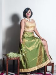 Beige brocade crop top paired with our Moss green brocade A-line long skirt