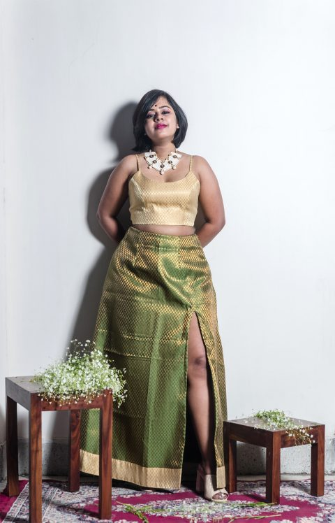 Moss Green A-line Skirt With Side Slit