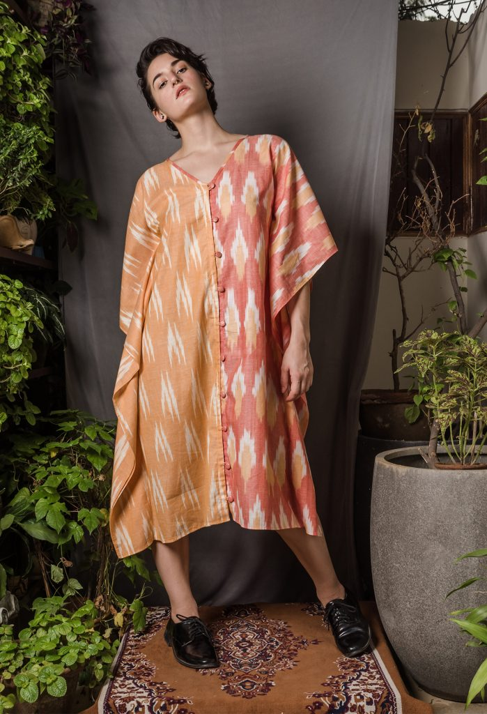 Two-toned Ikat Kaftan by Untouched