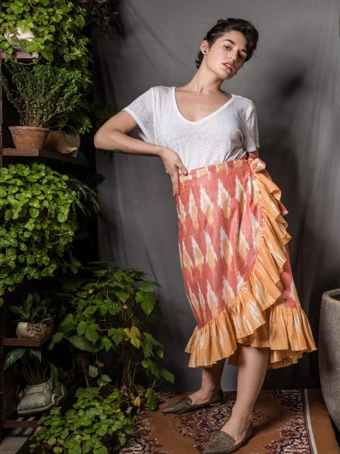 Ikat Ruffle Wrap Skirt