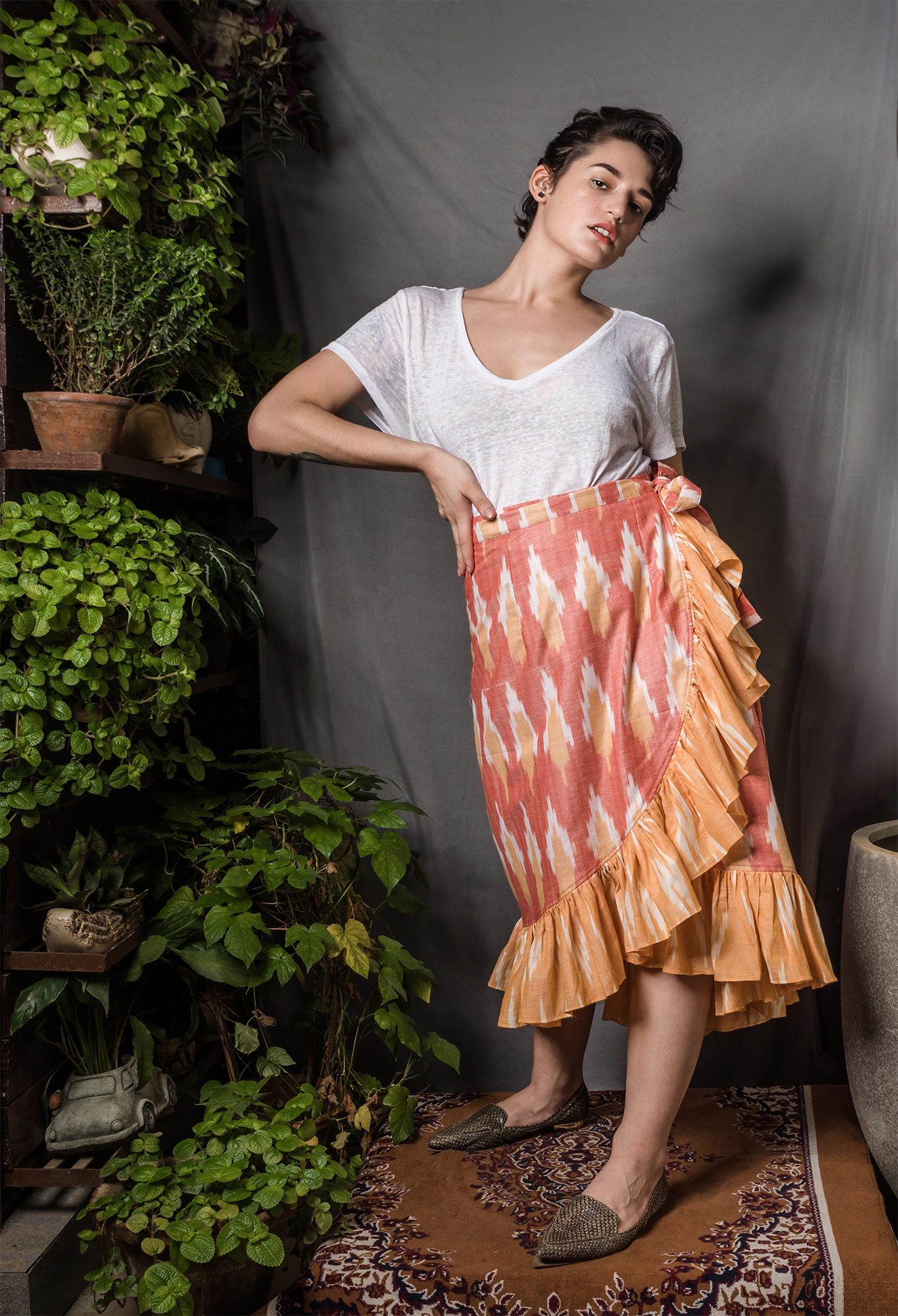 Ikat ruffle high-low wrap skirt