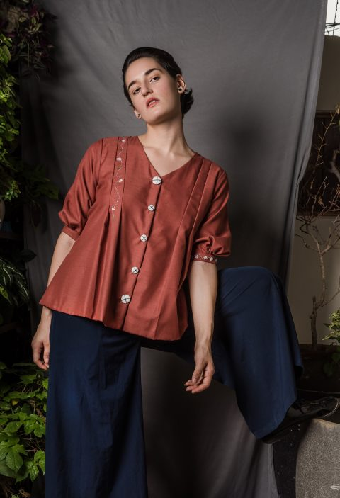 Cotton Shirt With Delicate Hand Embroidery