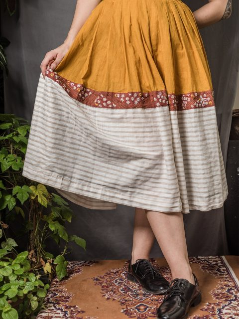 Colourblocked Midi Skirt