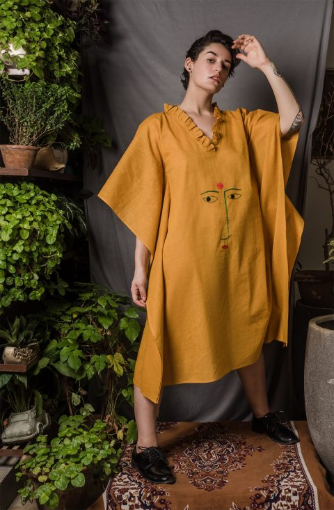 Mustard Embroidered Kaftan