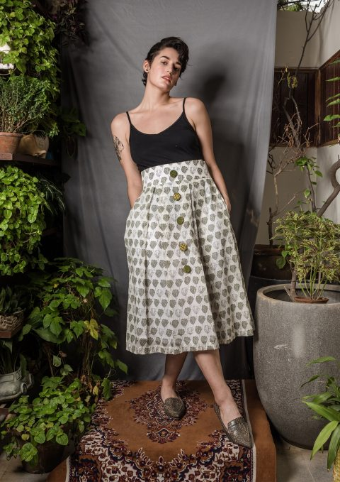 Leaf Print High Waist Midi Skirt