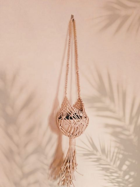 Misty Macrame Plant Hanger with One Free Pot