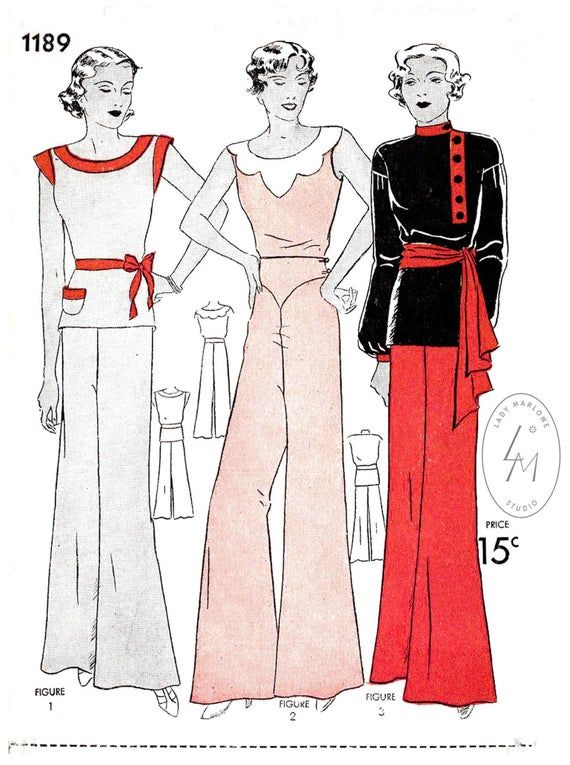 Pajyama jumpsuit in the 1930s